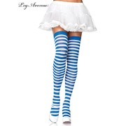 Blue & White Striped Over the Knee Stockings / Socks (One Size) Pk 1