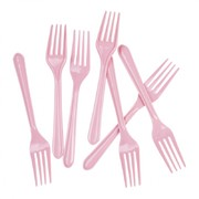 Classic Pink Plastic Forks Pk 20