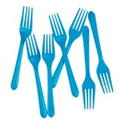 Electric Blue Plastic Forks Pk 20