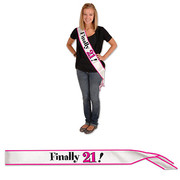 White & Pink Finally 21! Satin Sash Pk 1