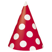 Red & White Polka Dot Party Hats Pk 8