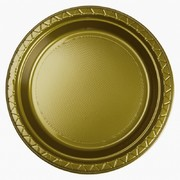Gold 9in. Plastic Dinner Plates Pk 20