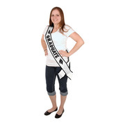 Graduation White & Black Graduate Satin Sash Pk 1