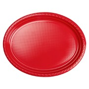 Red Large Oval Plastic Plates Pk 20