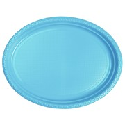 Electric Blue Large Oval Plastic Plates Pk 20