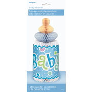 Blue Baby Bottle Baby Shower Honeycomb Centrepiece Pk 1