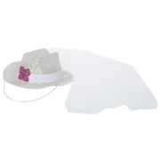 Mini Bride To Be White Glitter Plastic Cowboy Hat With Veil Pk 1