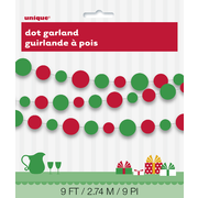 Green & Red Dots Christmas Garland Decoration (2.74m) Pk 1
