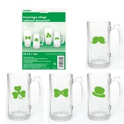 Assorted St. Patrick's Day Beverage Glass Cling Decorations Pk 16