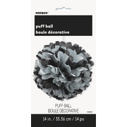 Black & Silver Decorative Tissue Paper Pom Pom (35cm) Pk 1