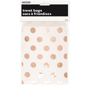 White Paper Loot Bags with Rose Gold Foil Dots Pk 8