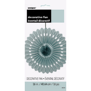 Silver Paper Fan Decoration (40cm) Pk 12