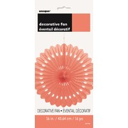 Coral Orange Paper Fan Decoration (40cm) Pk1