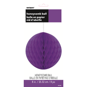 Neon Purple Honeycomb Ball Decoration 20cm Pk 1