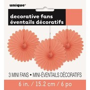 Coral Colour Decorative Fans (15cm) Pk 3