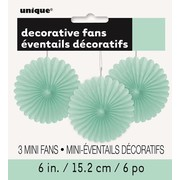 Mint Green Decorative Fans (15cm) Pk 3