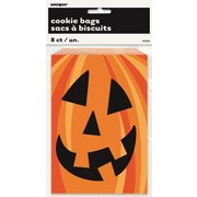 Halloween Pumpkin Treat Party Cookie Bags Pk 8