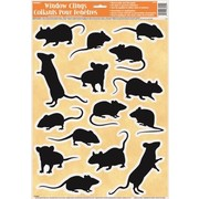 Assorted Size Mice Wall / Window Clings (1 Sheet of 15 Clings)