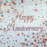 Rose Gold Sparkling Fizz Happy Anniversary 3 Ply Lunch Napkins Pk 16