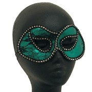Green & Black Lace Masquerade Mask Pk 1