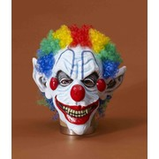 Halloween Sinister Mister Clown Latex Mask with Hair Pk 1