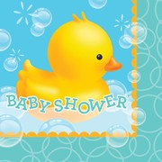Bubble Bath Duck Baby Shower 2Ply Lunch Napkins Pk 16