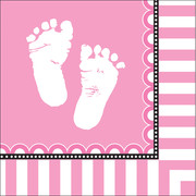 Sweet Baby Feet Pink 3Ply Lunch Napkins Pk 16