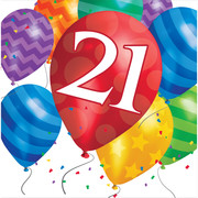 21st Birthday Balloon Blast 2Ply Lunch Napkins Pk 16