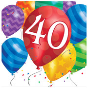 40th Birthday Balloon Blast 2Ply Lunch Napkins Pk 16