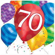 70th Birthday Balloon Blast 2Ply Lunch Napkins Pk 16