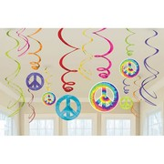 Hippie 60s Hanging Swirl Decorations Pk 12