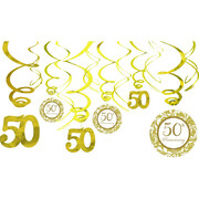 50th Anniversary Gold Hanging Swirl Decorations Pk 12