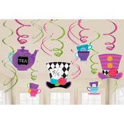 Mad Hatter Tea Party Hanging Swirl Decorations Pk 12