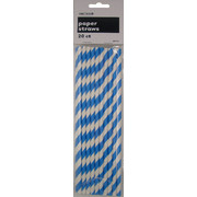 Royal Blue Stripe Paper Straws Pk 20