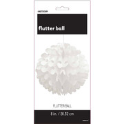 White Flutter Ball Decoration 20cm Pk 1