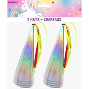 Iridescent Unicorn Party Hat Horns with Tassels Pk 8