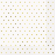 White 2 Ply Lunch Napkins with Gold Dots Pk 16