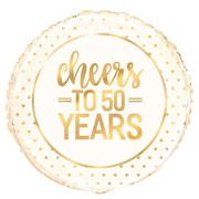 Cheers To 50 Years White & Gold 18in. Foil Balloon Pk 1