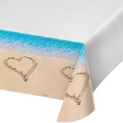 Beach Love Border Print Plastic Tablecover (1.37m x 2.74m) Pk 1