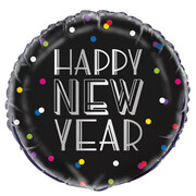 Happy New Year Dots 18in. Foil Balloon Pk 1