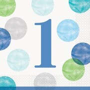 1st Birthday Dots Blue 2 Ply Lunch Napkins Pk 16