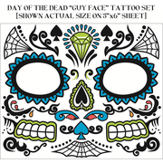 Day of the Dead Male Face Tattoos (1 Sheet)