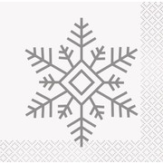 Christmas Silver Snowflake 2 Ply Cocktail Napkins Pk 16
