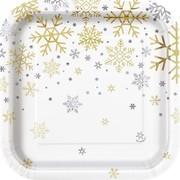 Christmas Silver & Gold Snowflakes 7in. Square Paper Plates Pk 8