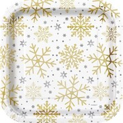 Christmas Silver & Gold Snowflakes 9in. Square Paper Plates Pk 8