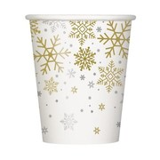 Christmas Silver & Gold Snowflakes 9oz. Paper Cups Pk 8