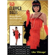Adult Red Flapper Dress Costume (Large, 16-18) Pk 1
