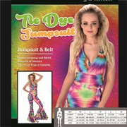 Adult 70's Hippie Hippy Tie Dye Jumpsuit Costume (Medium, 12-14)