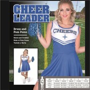 Adult Blue Cheer Leader Costume (Small, 8-10) Pk 1