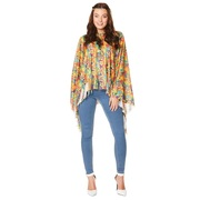 Adult 1970s Flower Power Poncho & Headband Costume Pk 1